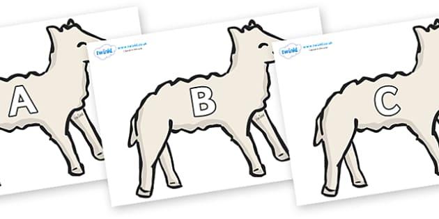A-Z Alphabet on Lambs - A-Z, A4, display, Alphabet frieze, Display letters, Letter posters, A-Z letters, Alphabet flashcards