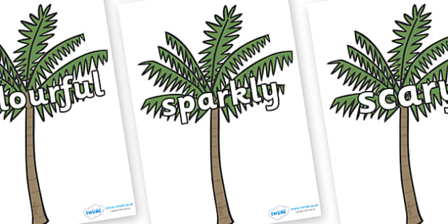 Wow Words on Palm Trees - Wow words, adjectives, VCOP, describing, Wow, display, poster, wow display, tasty, scary, ugly, beautiful, colourful sharp, bouncy
