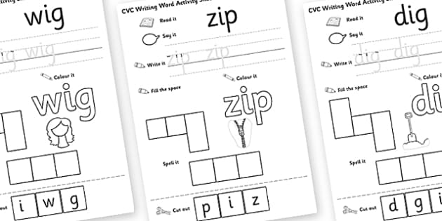 CVC Writing Word Activity Sheet Pack I - CVC writing, word, activity, sheets, activity sheets, reading and writng, colouring, vowles, I, worksheet