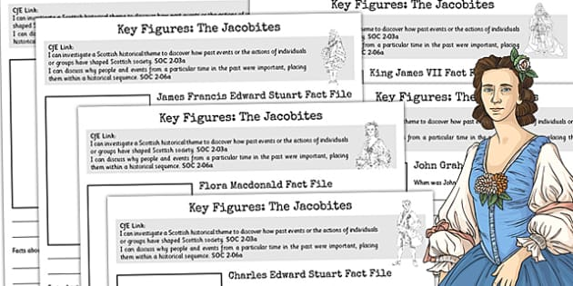 The Jacobites Key Figures Fact File Pack - jacobites, key figures