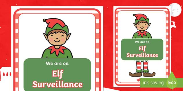 Elf Surveillance Display Poster - elf, christmas, elves, spot the elf, father christmas, making toys, festive season