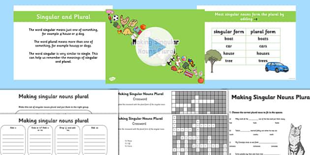 Making Singular Nouns Plural Lesson Teaching Pack - nouns