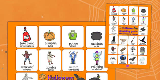 Halloween Vocabulary Poster Polish Translation - polish, halloween, hallowe'en, vocabulary, poster, display