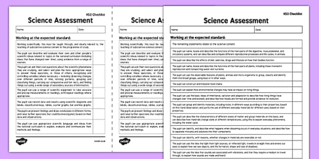 KS2 Science Exemplification Checklist - ks2, science, exemplification, checklist
