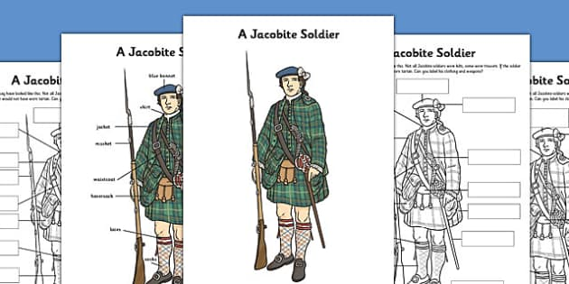 A Jacobite Soldier Poster and Differentiated Worksheets - jacobite