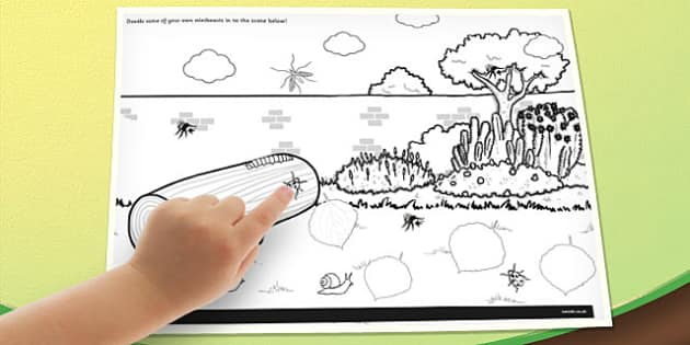 Minibeast Doodle Page - minibeast, doodle, page, draw, colour