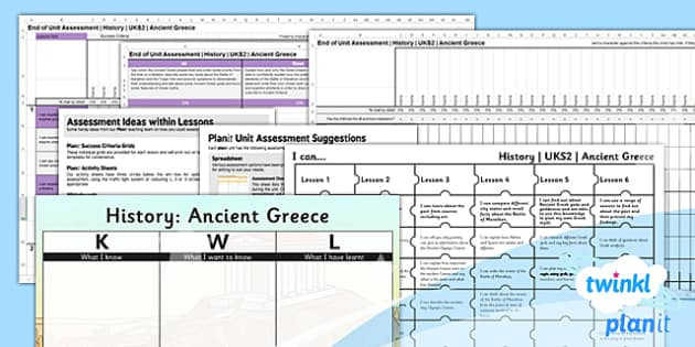 PlanIt - History UKS2 - Ancient Greece Unit Assessment Pack - assessment, record, data, baseline, nation, pack, objectives, criteria, success, national, curriculum, philosophy, past, bc, thinkers