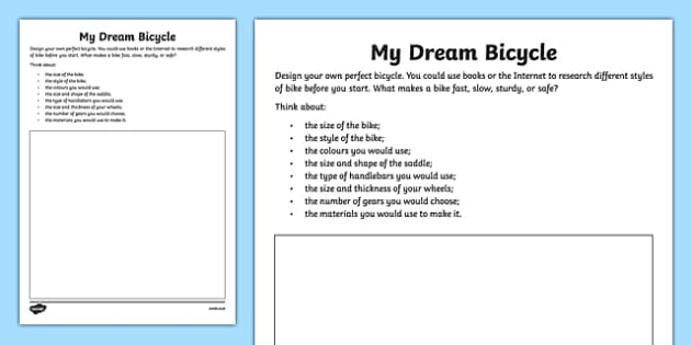 Design Your Dream Bicycle Activity Sheet, worksheet