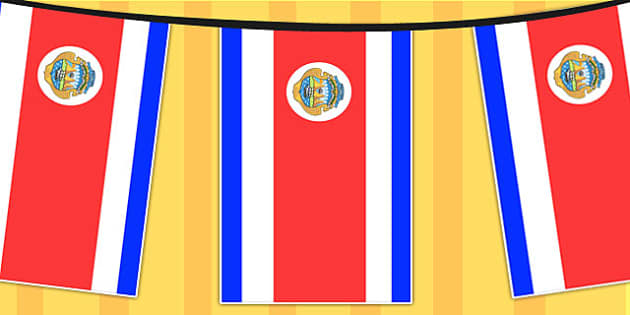 Costa Rica A4 Flag Bunting - countries, geography, flag, country