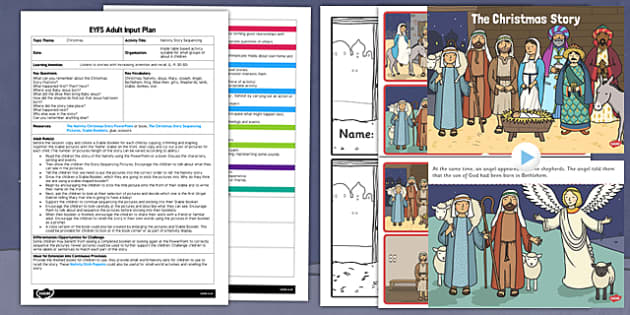 Nativity Story Sequencing EYFS Adult Input Plan and Resource Pack - nativity, story sequencing, eyfs, pack