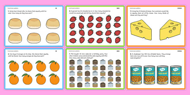 Differentiated Food Division Problems - Division, divide, share, equally, word problem, solve, reasoning, inverse, multiplication tables 2, 5 and 10