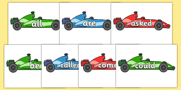 Tricky Words on Racing Cars - Tricky words, DfES Letters and Sounds, Letters and sounds, racing car, car, display, transport