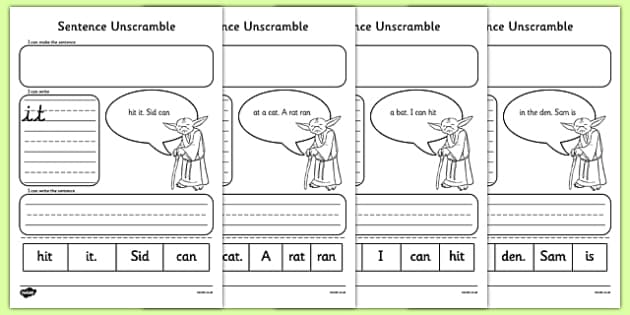 Phase 2 Space Wars Sentence Unscramble Activity Sheet Pack - Phase 2 unscramble sentence, KS1, EYFS, Letters and sounds, Phonics Worksheets