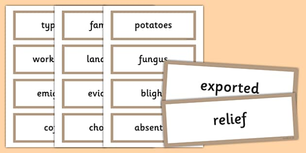 The Great Famine - Vocabulary Flashcards - gaeilge, the famine, great famine, vocabulary flashcards, ireland history