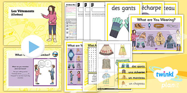 PlanIt - French Year 3 - All About Me Lesson 6: Clothes 2 Lesson Pack - french, languages, clothes
