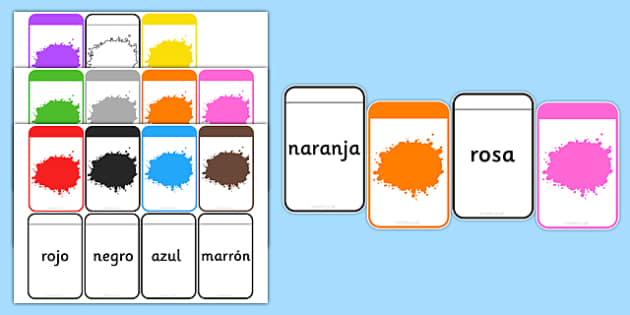 Spanish Colour Matching Flashcards - spanish, colours, matching