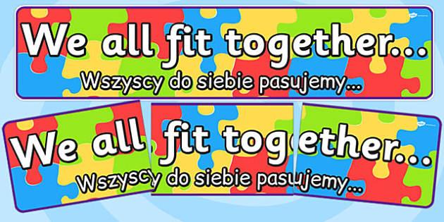 We All Fit Together Display Banner Polish Translation - polish
