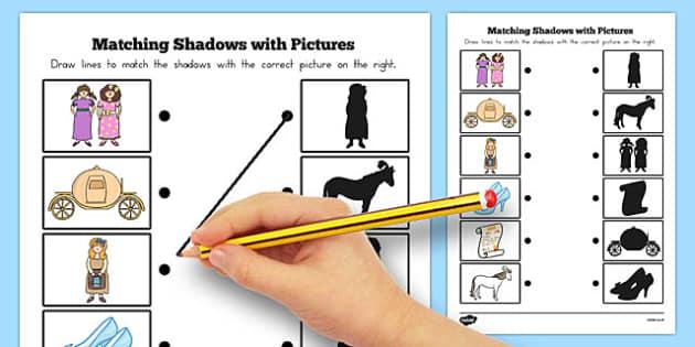 Cinderella Shadow Matching Activity Sheet - australia, cinderella, worksheet
