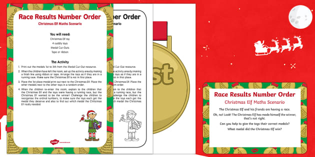 Race Results Number Order Christmas Elf Maths Scenario