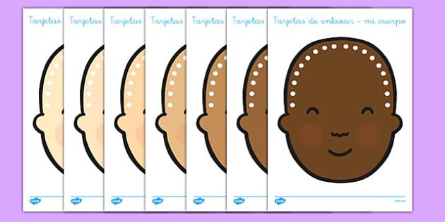 Tarjetas de enlazar - mi cuerpo - spanish, people, lacing, cards, lacing cards