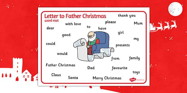 Letter to Santa Word Mat - letter, santa, word mat, word, mat, letter to santa