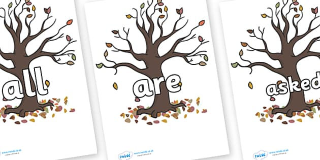 Tricky Words on Autumn Trees - Tricky words, DfES Letters and Sounds, Letters and sounds, display, words