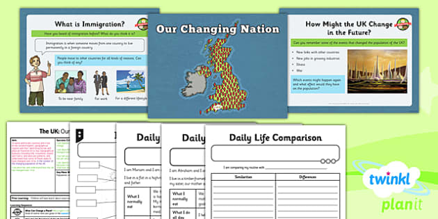 PlanIt - Geography Year 3 - The UK Lesson 6: Our Changing Nation Lesson Pack - geography, UK, county, counties, immigration, change