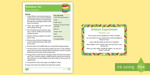 Rainbow Jar Science Experiment - St Patricks Day, Rainbow, science, experiment