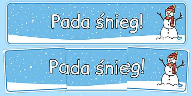 Banner na gazetkę Pada śnieg po polsku - zima, pory roku