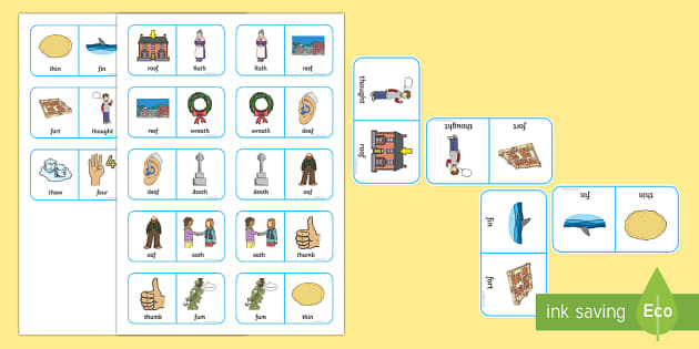 Voiceless 'th' and 'f' Minimal Pair Dominoes - voiceless th, fricatives, minimal pairs, speech sounds, articulation, phonology, dyspraxia