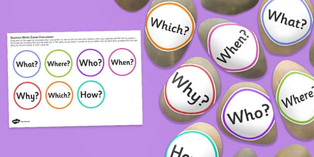 Question Word Stones - english, reasoning, words, speaking and listening, role play, early years, ks1