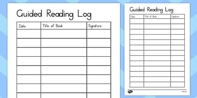Guided Reading Log - australia, guided reading, log, reading