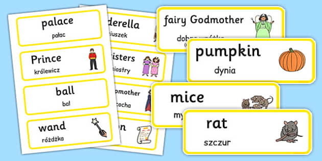Cinderella Word Cards Polish Translation - polish, cinderella, word cards