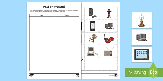 Past and Present Sorting Activity - Past and Present, childhood, grandparents, childhood,Australia, old and new, comparing, technology