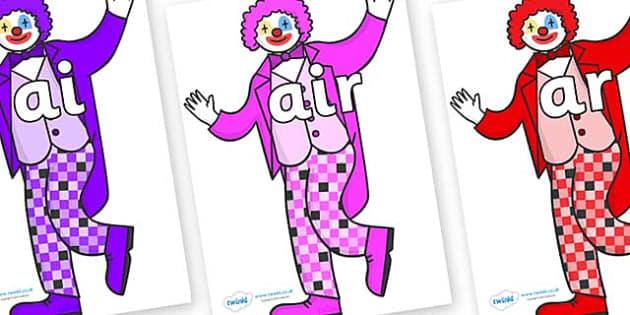 Phase 3 Phonemes on Clowns - Phonemes, phoneme, Phase 3, Phase three, Foundation, Literacy, Letters and Sounds, DfES, display