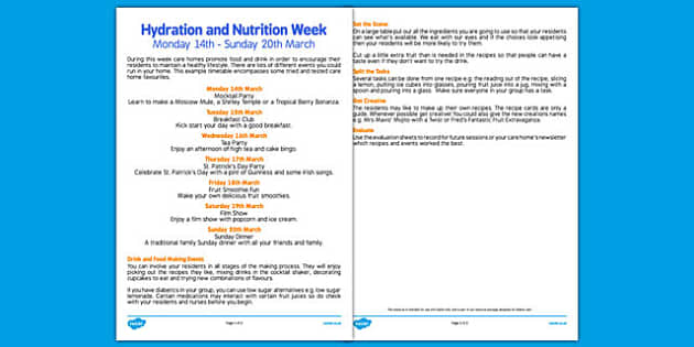 Elderly Care Hydration and Nutrition Week Instructions - Elderly, Reminiscence, Care Homes, Hydration and Nutrition Week