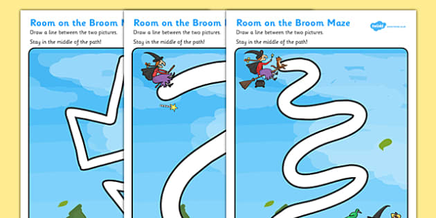 Pencil Control Path Activity Sheets to Support Teaching on Room on the Broom - room on the broom, pencil control, room on the broom worksheets, themed pencil control sheets