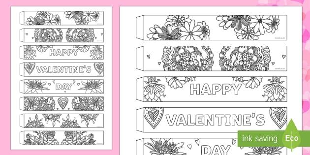 Valentine's Day Mindfulness Flowers Paper Chain Activity - Valentine's Day,  Feb 14th, love, cupid, hearts, valentine, flower, flowers
