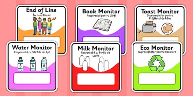 Monitor and Job Cards Romanian Translation - roles, information, responsibility, ks1, ks2, class, classroom, organisation, rota, schedule, tidy, away,