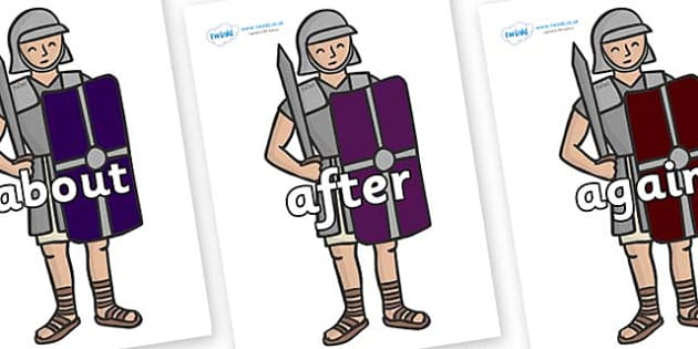 KS1 Keywords on Roman Soldiers - KS1, CLL, Communication language and literacy, Display, Key words, high frequency words, foundation stage literacy, DfES Letters and Sounds, Letters and Sounds, spelling