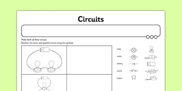Circuits Activity Sheet switches series circuits electircal – Series Circuit Worksheet