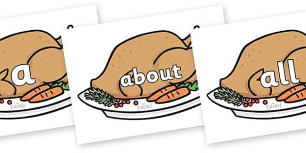 100 High Frequency Words on Christmas Turkeys - High frequency words, hfw, DfES Letters and Sounds, Letters and Sounds, display words