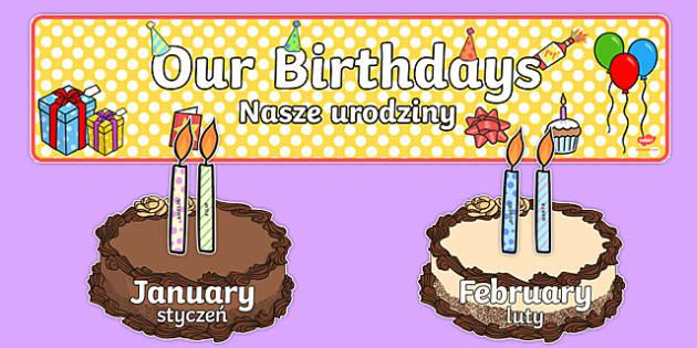 Editable Birthday Display Set Cakes Polish Translation - polish, Birthday set, birthday display, banner, birthday, birthday poster, birthday display, months of the year, cake, balloons, happy birthday