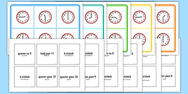 Mixed Time Bingo Arabic Translation - arabic, Mixed time bingo, time game, Time resource, Time vocabulary, clock face, Oclock, half past, quarter past, quarter to, shapes spaces measures