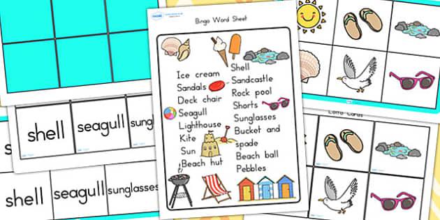 Seaside Themed Bingo and Lotto Pack - seaside, bingo, lotto, game