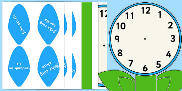Analogue Clock Flower Labels Words Gaeilge - gaeilge, irish, time, maths, classroom, visual aid, numeracy
