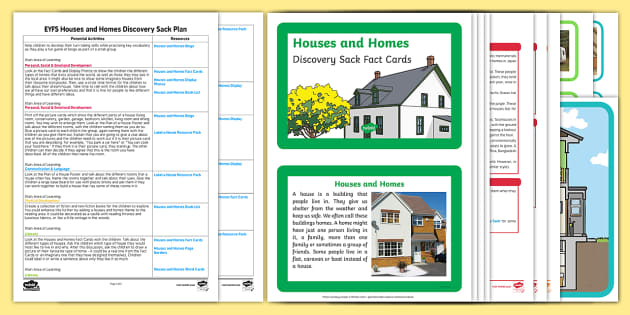 EYFS Houses and Homes Discovery Sack Plan and Resource Pack - house, home, EYFS, sack