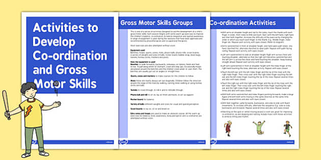 Co-ordination Gross Motor Skills Activities - gross motor skills