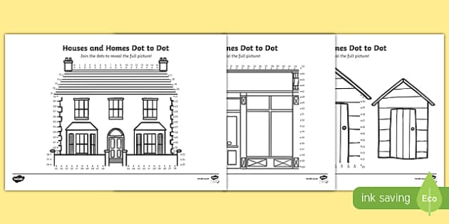Houses and Homes Dot-to-Dot Activity Sheet Pack, worksheet