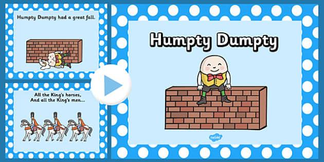 Humpty Dumpty PowerPoint - humpty dumpty, nursery rhymes, nursery rhyme powerpoint, humpty dumpty nursery rhyme powerpoint, humpty dumpty sat on a wall